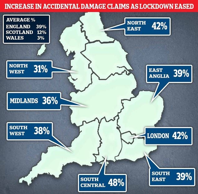 A map of the UK showing the increase in accidental damage regionally