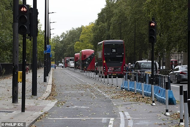 A picture of a bus lane