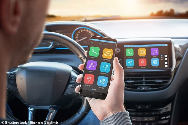 A picture of phone to car bluetooth link up
