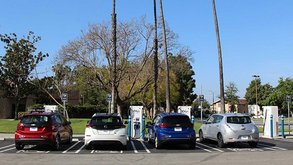 A picture of a row of electric cars
