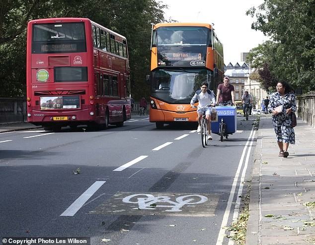 A picture of a bike lane in London