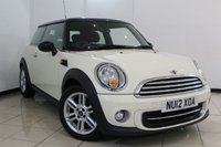 USED 2012 12 MINI HATCH COOPER 1.6 COOPER 3DR 122 BHP CHILI PACK MINI SERVICE HISTORY + SAT NAVIGATION + BLUETOOTH + CRUISE CONTROL + CLIMATE CONTROL
