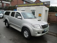 2013 TOYOTA HI-LUX  4X4 D-4D, D/CAB, TURBO DIESEL   TOP BOX CANOPY, BLUETOOTH, SAT NAV,  SIDE BARS, A/C, REVERSE CAMERA, CRUISE CON, PARKING SENSORS, ONE OWNER, FULL TOYOTA DEALER HISTORY, IMMACULATE CONDITION  £12500.00