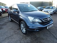 USED 2010 10 HONDA CR-V 2.2 I-DTEC ES-T 5d 148 BHP 6 SERVICE STAMPS,2 KEYS,LEATHER SPORTS TRIM 1 PREVIOUS OWNER 6 SERVICE STAMPS, 12 MONTHS MOT FROM SALE 2 KEYS,HALF LEATHER AND ALCANTARA SPORTS TRIM finished in metallic blue with contrasting leather and Alcantara sports trim, colour touch screen satellite navigation, radio stereo CD player, air conditioning, multi function 3 spoke sports leather and carbon fiber steering wheel, cruise control, 6 speed gear box, cup holders, 2 sage heated seats, manual pack, rear child safety ISO fix,