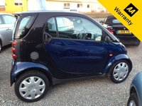 USED 2004 04 SMART FORTWO 0.7 PURE SOFTIP 2d AUTO 61 BHP GREAT ECO CITY CAR!   Lovely to drive, nippy, VERY cheap to run, £30 tax for the year, £30 to fill it up.   LOW insurance group, perfect first car!