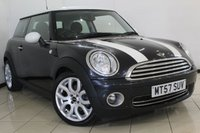 USED 2008 57 MINI HATCH COOPER 1.6 COOPER 3DR 118 BHP FULL SERVICE HISTORY + AIR CONDITIONING + RADIO/CD + ELECTRIC WINDOWS + ALLOY WHEELS