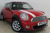 USED 2011 61 MINI HATCH ONE 1.6 ONE 3DR 98 BHP PEPPER PACK MINI SERVICE HISTORY + LOW MILEAGE + CLIMATE CONTROL + SIX SPEED + RADIO/CD + ALLOY WHEELS