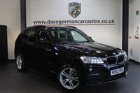 USED 2013 62 BMW X3 2.0 XDRIVE20D M SPORT 5DR 181 BHP + FULL BLACK LEATHER INTERIOR + PRO SATELLITE NAVIGATION + HEATED SPORT SEATS + BLUETOOTH + CRUISE CONTROL + M SPORT PACKAGE + PARKING SENSORS + 18 INCH ALLOY WHEELS +