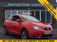 USED 2014 64 SEAT IBIZA 1.2 TSI I-TECH 3d 104 BHP £30 yr tax, 1 owner, Sat Nav, Bluetooth