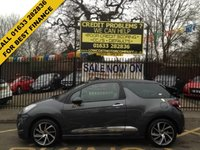 "USED 2015 65 DS DS 3 1.6 BLUEHDI DSPORT S/S 3d 118 BHP LOW MILEAGE 1 OWNER CAR ALLOYS  STUNNING GREY  7"" TOUCH SCREEN BLUETOOTH & USB ARKAMYS HI-FI SPEAKERS CRUISE CONTROL AIR CONDITIONING"