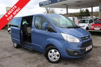 USED 2015 15 FORD TOURNEO CUSTOM 2.2 300 LIMITED TDCI 5d 125 BHP 9 Seater, Air Conditioning, Heated Front Seats, One Owner, Stratosphere Blue Metallic.