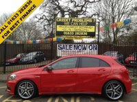 """USED 2015 15 MERCEDES-BENZ A CLASS 2.0 A45 AMG 4MATIC 5d AUTO 360 BHP STUNNING JUPITER RED PAINT WORK, 1 OWNER, FULL MERCEDES SERVICE HISTORY, AMG HALF BLACK ARTICO/SUEDE BUCKET SEATS, FRONT AND REAR PARKING SENSORS, AIRCON, 18"""" AMG ALLOYS, AMG PERFORMANCE EXHAUST,"""