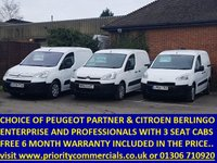 USED 2013 PEUGEOT PARTNER CHOICE OF 10 PARTNER AND BERLINGOS WITH 3 SEATS CHOICE OF 12 AVAILABLE