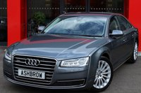 USED 2014 14 AUDI A8 3.0 TDI QUATTRO SE 4d AUTO 254 S/S UPGRADE 19 INCH 15 SPOKE STAR DESIGN ALLOYS, UPGRADE ELECTRIC FOLDING HEATED & DIMMING MIRRORS, UPGRADE ELECTRIC FRONT SEATS WITH MEMORY, UPGRADE BOSE SURROUND SOUND SYSTEM, UPGRADE PHONE PREP HIGH, UPGRADE TOP VIEW CAMERA, UPGRADE POWER BOOT LID, UPGRADE ADVANCED KEY, UPGRADE POWER DOOR CLOSURE, UPGRADE ALUMINIUM INLAYS, MATRIX LIGHTS, FULL BLACK LEATHER, HEATED FRONT SEATS, HDD SAT NAV WITH JUKEBOX & DVD PLAYBACK, FULL SERVICE HISTORY