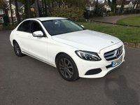 USED 2015 65 MERCEDES-BENZ C CLASS 2.1 C220 D SPORT 4d AUTO 170 BHP 1 OWNER NEW SHAPE WHITE WITH FULL BLACK LEATHER 13000 FSH AUTO