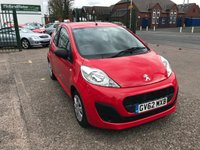 USED 2013 62 PEUGEOT 107 1.0 ACCESS 3d 68 BHP 1 Owner, Full Main Dealer Service History, Zero ££ Road Tax