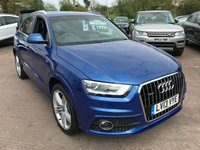 USED 2013 13 AUDI Q3 2.0 TDI QUATTRO S LINE 5d AUTO 175 BHP ONLY 33,000 MILES, FULL SERVICE HISTORY, S-LINE ALLOY WHEELS, QUATTRO 4 WHEEL DRIVE, S-LINE MODEL, PARKING SENSORS, PROJECTOR HEADLIGHTS, BLACK HEATED LEATHER FRONT SEATS, TINTED REAR WINDOWS, ROOF RAILS, RADIO/CD WITH BLUETOOTH HANDS FREE, STEERING WHEEL CONTROLS, AUTO LIGHTS, CRUISE CONTROL, FOG LIGHTS, DAY TIME RUNNING LIGHTS,
