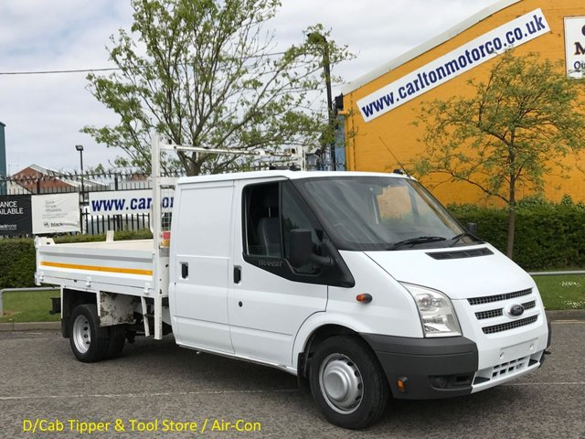 2013 63 FORD TRANSIT 2.2Tdci 125 T350L D/Cab Tipper+ Rear Tool store [ A/Con ] DRW Free UK Delivery