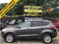 USED 2015 15 FORD KUGA 2.0 TITANIUM TDCI 5d AUTO 177 BHP 1 OWNER, FULL SERVICE HISTORY, MAGNETIC GREY PAINT WORK, PART BLACK LEATHER CLOTH INTERIOR, BLUE TOOTH, CRUISE CONTROL, BLUE TOOTH, CRUISE CONTROL,