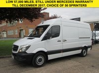 USED 2014 64 MERCEDES-BENZ SPRINTER 2.1 313CDI MWB HIGH ROOF 129 BHP. LOW 57,000 MILES. FSH. 1 OWNER. PX STILL UNDER MERC WARRANTY. £241 PM. LOW RATE FINANCE. PX