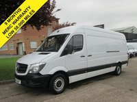 USED 2015 15 MERCEDES-BENZ SPRINTER 2.1 313CDI LWB HIGH ROOF. LOW 58,000 MILES. FSH. 1 OWNER. 9 MONTHS MERCEDES WARRANTY LOW RATE FINANCE. PX WELCOME