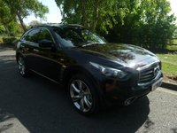 """USED 2013 13 INFINITI FX 3.0 FX30D 5d AUTO 235 BHP FANTASTIC VALUE TOP OF THE RANGE INFINITY FX30 DIESEL S PREMIUM WITH A MEGA SPEC WHICH INCLUDES ALL ROUND CAMERAS, HEATED AND COOLED LEATHER SEATS, SATELLITE NAVIGATION, LANE DEPARTURE WARNING, CLIMATE CONTROL, CRUISE CONTROL, ELECTRIC GLASS SUNROOF, 21"""" ALLOY WHEELS AND INFINITY SERVICE HISTORY"""