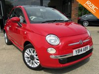 USED 2014 14 FIAT 500 1.2 LOUNGE 3d 69 BHP AIR CONDITIONING, ALLOYS, RAC INSPECTED, SERVICE HISTORY