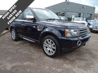 USED 2009 09 LAND ROVER RANGE ROVER SPORT 2.7 TDV6 SPORT HSE 5d AUTO 188 BHP SERVICED AT 13041M 38704M 54343M AND JUST BEEN SERVICED BY OURSELVES 2 KEYS MOT FEBUARY 2018  HIGH SPECIFICATION SPECIAL COLOUR BUCKINGHAM BLUE WITH SPECIAL LEATHER AND ALCANTARA SPORT TRIM, BLACK WITH CONTRASTING BEIGE HALF LEATHER HALF ALCANTARA TRIM, WOOD PACK TO DASH AND DOOR INSERTS, TOUCH SCREEN SATELLITE NAVIGATION, DUAL ZONE AIR CONDITIONING, CRUISE CONTROL, AM FM STEREO WITH CD PLAYER, VOICE COMMAND, PHONE PREP, HEATED FRONT AND REAR SEATS, HEATED FRONT AND REAR SCREEN, HARMON KARDON SO