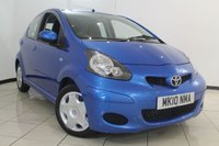 USED 2010 10 TOYOTA AYGO 1.0 BLUE VVT-I 5DR 67 BHP SERVICE HISTORY + 0% FINANCE AVAILABLE T&C'S APPLY + UP TO 62 MPG + AIR CONDITIONING + RADIO/CD + 14 INCH ALLOY WHEELS