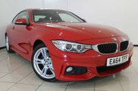 USED 2014 64 BMW 4 SERIES 2.0 420D M SPORT 2DR 181 BHP HEATED LEATHER SEATS + 0% FINANCE AVAILABLE T&C'S APPLY + SAT NAVIGATION + PARKING SENSOR + BLUETOOTH + CRUISE CONTROL + MULTI FUNCTION WHEEL