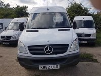 USED 2012 62 MERCEDES-BENZ SPRINTER 2.1 313 CDI MWB 1d 129 BHP 62 PLATE ARCTIC WHITE HIGH ROOF PANEL VAN