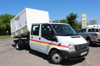 USED 2013 63 FORD TRANSIT 2.2 350 DRW 1d 125 BHP One Owner, 6 Seats, Rear Enclosed  Tipper, 4 Side Loading Doors.