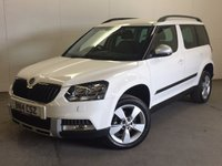 USED 2014 14 SKODA YETI 2.0 OUTDOOR SE TDI CR 5d 109 BHP 4X4 SAT NAV PRIVACY PDC FSH 4WD. SATELLITE NAVIGATION. STUNNING WHITE WITH CONTRASTING BLACK CLOTH TRIM. CRUISE CONTROL. 17 INCH ALLOYS. COLOUR CODED TRIMS. PRIVACY GLASS. PARKING SENSORS. BLUETOOTH PREP. CLIMATE CONTROL. TRIP COMPUTER. R/CD/MP3 PLAYER. 6 SPEED MANUAL. MFSW. MOT 05/18. ONE PREV OWNER. FULL SERVICE HISTORY. PRISTINE CONDITION. FCA FINANCE APPROVED DEALER. TEL 01937 849492.
