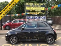 USED 2014 64 FIAT 500 1.2 S 3d 69 BHP LOW MILEAGE, STUNNING EXAMPLE, METALLIC CROSS OVER BLACK PAINT WORK, STUNNING BLACK/BLUE SPORTS CLOTH TRIM, GRAPHITE PAINTED ALLOY WHEELS, BLUETOOTH, AIR CON, CD PLAYER, BLUETOOTH