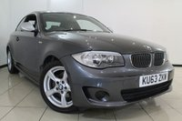 USED 2013 63 BMW 1 SERIES 2.0 118D EXCLUSIVE EDITION 2DR 141 BHP FULL BMW SERVICE HISTORY + LEATHER SEATS + CLIMATE CONTROL + BLUETOOTH + MULTI FUNCTION WHEEL + RADIO/CD + ALLOY WHEELS