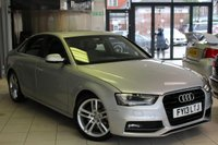 USED 2013 13 AUDI A4 2.0 TDI S LINE 4d 141 BHP HALF LEATHER SPORT SEATS + SAT NAV + FULL SERVICE HISTORY + 0% FINANCE AVAILABLE T&C'S APPLY + BLUETOOTH + PARKING SENSORS + 18 INCH ALLOYS + DRL'S + XENONS + CRUISE CONTROL