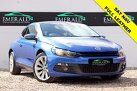 "USED 2008 58 VOLKSWAGEN SCIROCCO 2.0 GT 3d 200 BHP **£0 DEPOSIT FINANCE AVAILABLE**SECURE WITH A £99 FULLY REFUNDABLE DEPOSIT**FULL VIENNA LEATHER, HEATED FRONT SEATS, SAT NAV, TOUCH SCREEN MEDIA, REVERSE SENSORS, AIR CON 7 DUAL CLIMATE CONTROL, 17"" INTERLAGO ALLOYS, FULL SERVICE HSITORY, FULL MOT"