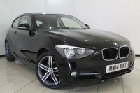 USED 2014 14 BMW 1 SERIES 2.0 116D SPORT 3DR 114 BHP FULL BMW SERVICE HISTORY + 0% FINANCE AVAILABLE T&C'S APPLY + AIR CONDITIONING + BLUETOOTH + MULTI FUNCTION WHEEL + RADIO/CD + 17 INCH ALLOY WHEELS
