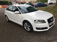 USED 2012 12 AUDI A3 1.6 TDI SPORT 5d 103 BHP AUDI PLUS ONE OWNER WITH FULL AUDI SERVICE HISTORY 5 DOOR IN WHITE VERY CHEAP TO TAX RUN AND INSURE