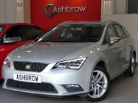 USED 2014 14 SEAT LEON ESTATE 1.6 TDI SE TECHNOLOGY 5d 105 S/S UPGRADE 17 INCH DYNAMIC ALLOYS, SAT NAV, DAB RADIO, BLUETOOTH PHONE & MUSIC STREAMING, CRUISE CONTROL, MANUAL 5 SPEED GEARBOX, START STOP TECHNOLOGY, LED LIGHTS, FRONT FOG LIGHTS, ALUMINIUM ROOF RAILS, GREY CLOTH INTERIOR, LEATHER MULTI FUNCTION STEERING WHEEL, AIR CONDITIONING, CD HFI WITH 2x SD CARD READERS, MDI INPUT FOR IPOD / USB DEVICES, FRONT CENTRE ARM REST, 1 OWNER FROM NEW, FULL SERVICE HISTORY, £0 ROAD TAX (99 G/KM), VAT QUALIFYING