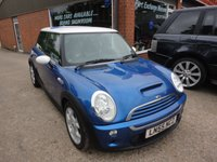 USED 2005 55 MINI HATCH COOPER 1.6 COOPER S 3 DOOR 168 BHP IN BLUE WITH WHITE STRIPS APPROVED CARS ARE PLEASED TO OFFER THIS  MINI HATCH COOPER 1.6 COOPER S 3 DOOR 168 BHP IN BLUE WITH WHITE ROOF AND MIRRORS,6 SPEED GEARBOX,ALLOYS AND AIR CON WITH A FULL SERVICE HISTORY A GREAT LITTLE COOPER S IN GREAT CONDITION.