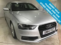 USED 2014 14 AUDI A4 2.0 AVANT TDI S LINE START/STOP 5d 148 BHP Full service history, part leather upholstery, Bluetooth, Satellite Navigation, Front and rear parking sensors