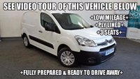 USED 2013 13 CITROEN BERLINGO 1.6 HDi L1 625 LX Panel Van 5dr +LOW MILEAGE+PLY LINED+3 SEAT+