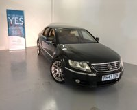 """USED 2007 07 VOLKSWAGEN PHAETON 3.0 V6 TDI  5 SEATS 4d AUTO 221 BHP VW Flagship limousine - Mercedes S Class competitor in black metallic with perforated Cream leather,19""""alloys,wood trim,climate control,heated electric seats-smooth drive,pure luxury-BIG VALUE -WAS £4999 NOW £4499 to clear SAVING £500"""