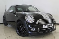 USED 2012 12 MINI COUPE 1.6 COOPER 2DR CHILI PACK 120 BHP MINI SERVICE HISTORY + 0% FINANCE AVAILABLE T&C'S APPLY + HALF LEATHER SEATS + CLIMATE CONTROL + PARKING SENSOR + BLUETOOTH + CRUISE CONTROL + MULTI FUNCTION WHEEL + ALLOY WHEELS