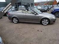 USED 2007 07 SAAB 9-3 1.9 LINEAR ANNIVERSARY TID 2d 151 BHP 2 PREVIOUS KEEPERS, MOT. 9 SERVICE STAMPS at 10,942mls, 27,389mls, 35,549mls, 41,599 mls, 48,694 mls, 54,126mls, 60,864 mls, 65,388 mls, 69,772 mls, With contrasting magnolia leather sports trim satellite navigation electric convertible roof 6 speed gearbox center arm rest radio CD player isofix multifunction leather steering wheel manual pack air conditioning two stage heated seats TCS rear headrests chrome front grill auto lights multi spoke sports alloys over mats