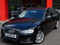 USED 2014 14 AUDI A4 AVANT 2.0 TDI SE TECHNIK 5d 177 S/S UPGRADE PRIVACY GLASS, MANUAL 6 SPEED GEARBOX, START STOP TECHNOLOGY, HDD SAT NAV WITH DVD PLAYBACK & JUKE BOX (MMI NAVIGATION PLUS), FULL BLACK LEATHER INTERIOR, BLUETOOTH PHONE & MUSIC STREAMING, DAB RADIO, WIRELESS LAN CONNECTION (WLAN), AUDI MUSIC INTERFACE FOR IPOD /  USB DEVICES (AMI), MMI WITH 2x SD CARD READERS, FRONT & REAR PARKING SENSORS WITH DISPLAY, FRONT FOG LIGHTS, ALUMINIUM ROOF RAILS, 18 INCH 10 SPOKE ALLOYS, ELECTRIC TAILGATE, LEATHER MULTI FUNCTION STEERING WHEEL, CRUISE, FASH