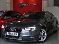 USED 2014 14 AUDI A5 2.0 TDI S LINE 2d 177 S/S UPGRADE TECHNOLOGY PACK HIGH INCLUDING MMI NAVIGATION PLUS PARKING SYSTEM PLUS FRONT & REAR WITH DISPLAY AUDI MUSIC INTERFACE (AMI) DVD PLAYER & VOICE DIALOGUE SYSTEM, UPGRADE HEATED FRONT SEATS, UPGRADE PRIVACY GLASS, DAB RADIO, WIRLESS LAN CONNECTION (WLAN), BLUETOOTH PHONE & MUSIC STREAMING, LED XENON LIGHTS, 18 INCH TWIN 5 SPOKE ALLOYS, FULL BLACK LEATHER, SPORT SEATS, LEATHER MULTI FUNCTION STEERING WHEEL, LIGHT & RAIN SENSORS WITH AUTO DIMMING REAR VIEW MIRROR, CRUISE CONTROL, 1 OWNER FASH