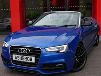 USED 2015 15 AUDI A5 CABRIOLET 2.0 TDI S LINE SPECIAL EDITION PLUS 2d AUTO 177 S/S HDD SAT NAV WITH DVD PLAYBACK & JUKEBOX, HEATED F&R SEATS, BLUETOOTH PHONE & MUSIC STREAMING, DAB RADIO, WIRELESS LAN CONNECTION (WLAN), AUDI MUSIC INTERFACE FOR IPOD/USB DEVICES (AMI), FRONT FOG LIGHTS, FRONT & REAR PARKING SENSORS WITH DISPLAY, REVERSING CAMERA, LED XENON LIGHTS, HEADLAMP WASHERS, REAR SPOILER, 19 INCH ALLOYS, FULL BLACK LEATHER INTERIOR, HEAD LEVEL HEATING (AIR SCARF), BANG & OLUFSEN HIFI, LEATHER MULTI FUNCTION TIPTRONIC STEERING WHEEL, CRUISE CONTROL, LIGHT & RAIN SENSORS