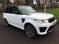 "USED 2013 63 LAND ROVER RANGE ROVER SPORT 3.0 SDV6 hse SVR EXCLUSIVE SVR EXCLUSIVE MODEL SVR BODYSTYLING 22""SVR ALLOYS IN WHITE WITH BLACK LEATHER FSH"